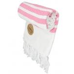 Triibuline Türgi rätik valge-roosa