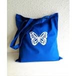 Sinine riidest kott liblikaga