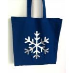 Sinine riidest kott suure lumehelbega
