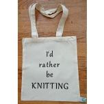 """Väike valge orgaaniline tekstiilkott """"I'd rather be knitting"""""""