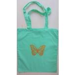 Väike riidest mündiroheline kott kuldse liblikaga