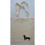 Väike riidest naturaalvalge kott musta koeraga