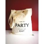 """Väike valge orgaaniline tekstiilkott """"I like to party"""""""
