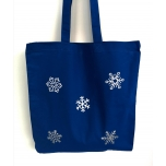 Sinine riidest kott väikeste lumehelvestega
