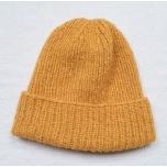 Kollane kootud alpakavillane müts