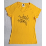 Kollane v-kaelusega särk lillekimbuga