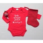 Kinkekomplekt beebile - body, nimega jõulukuul ja jõulusokk