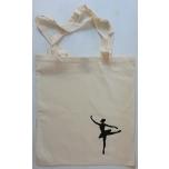 Väike riidest naturaalvalge kott musta tantsijaga