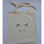 Väike riidest naturaalvalge kott musta kassinäoga