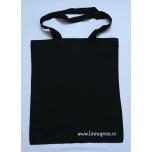 Väike riidest must kott valge Linnupesa kirjaga