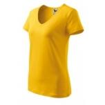 Lühikeste varrukatega kollane v-kaelusega särk