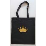 Väike riidest must kott kuldse krooniga