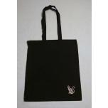 Väike riidest must kott hõbedase kassipildiga