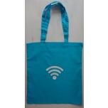 Väike riidest türkiissinine kott valge wifi märgiga